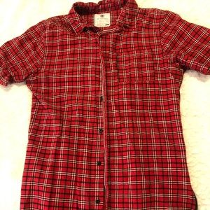PLAID BUTTON UP WITH ZIPPERS ON SIDES